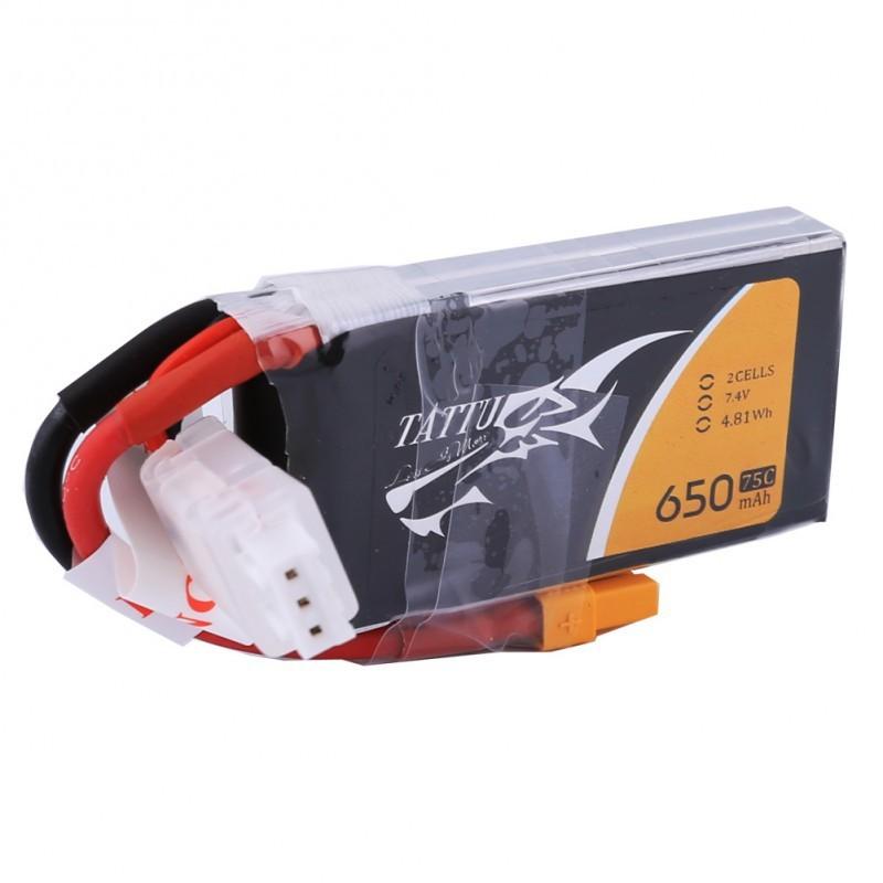 TATTU 650mAh 2S 75C 7.4V LiPo Battery