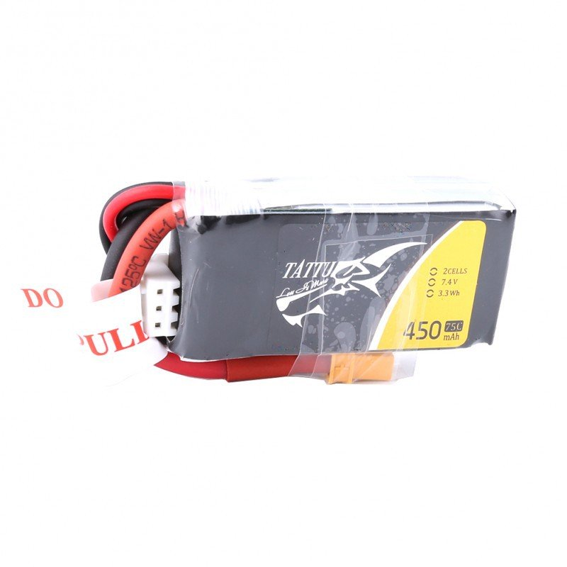TATTU 450mAh 2S 75C 7.4V LiPo Battery