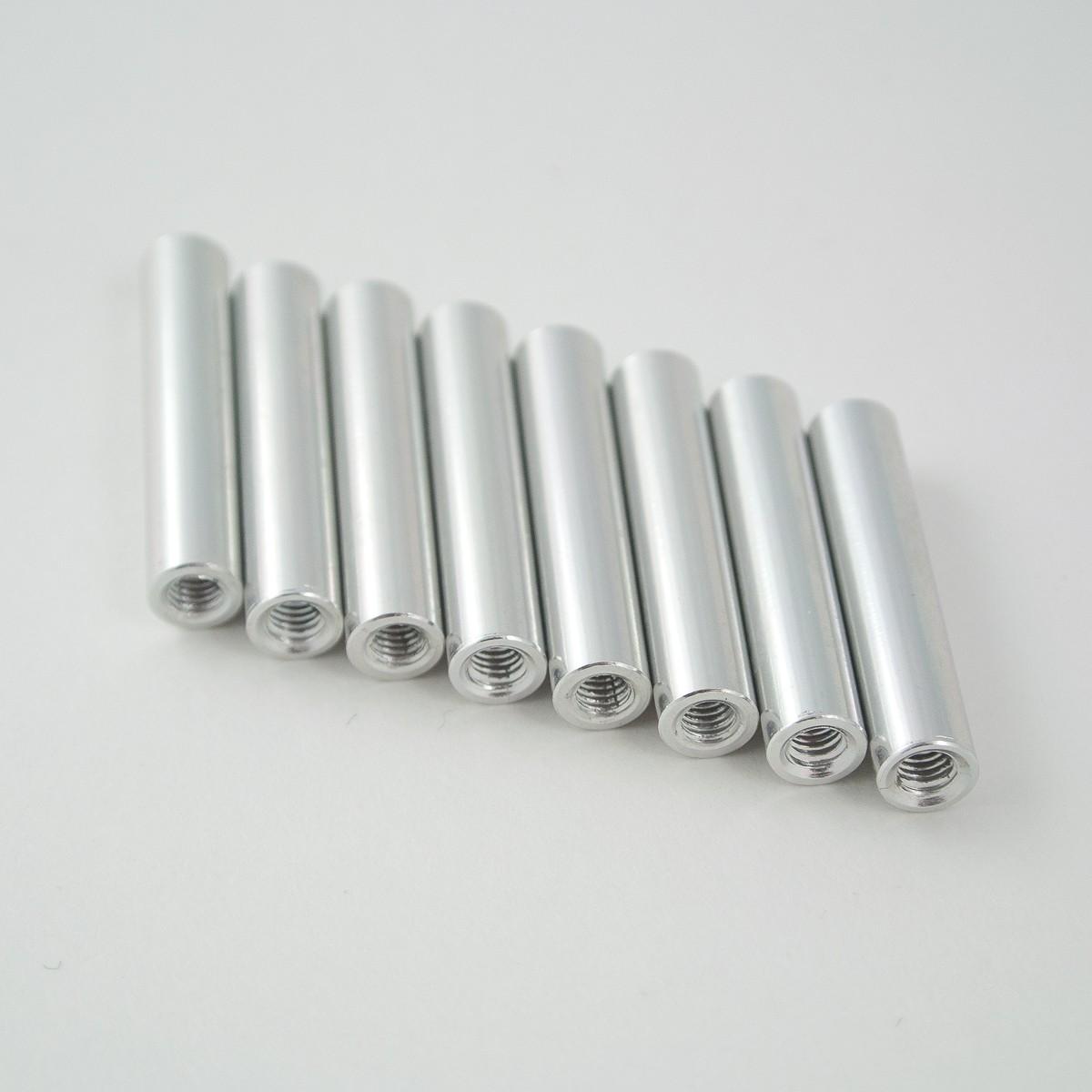 25mm round aluminium M3 standoff silver 8pcs