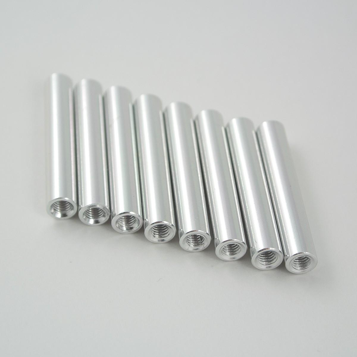 30mm round aluminium M3 standoff silver 8pcs