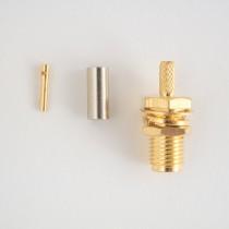 SMA long bulkhead connector crimp